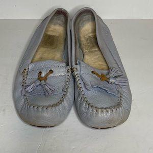 Ugg slip on leather fur lined boat shoes